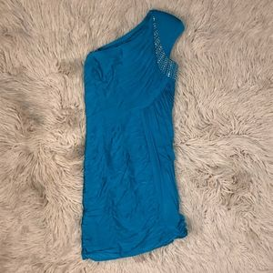 Aqua One-Shoulder Dress